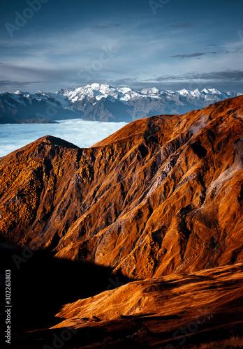 Wall mural Fantastic view of mountain Ushba. Location Upper Svaneti, Georgia, Europe. High Caucasus ridge.