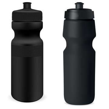Water flask set. Black sport bottle mockup. Protein can blank illustration. Nutrition powder canister 3d template. Cycling recycle vessel. Retail package promotion. Gym container