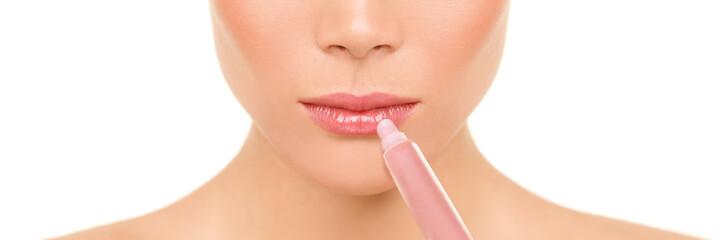 Lips banner beauty woman applying lip gloss moisturizer balm panorama
