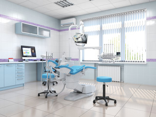 3D rendering modern dentist's office
