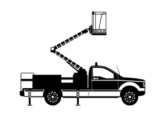 Aerial work platform. Boom lift silhouette. Side view. Flat vector.