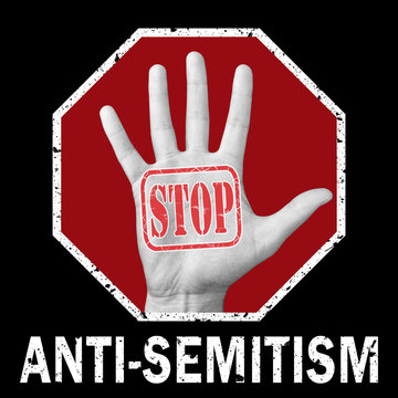 Stop anti-Semitism conceptual illustration. Social problem