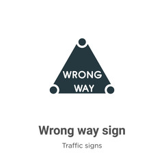 Wrong way sign vector icon on white background. Flat vector wrong way sign icon symbol sign from modern traffic signs collection for mobile concept and web apps design.