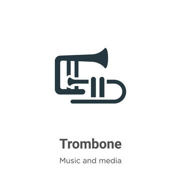 Trombone vector icon on white background. Flat vector trombone icon symbol sign from modern music collection for mobile concept and web apps design.