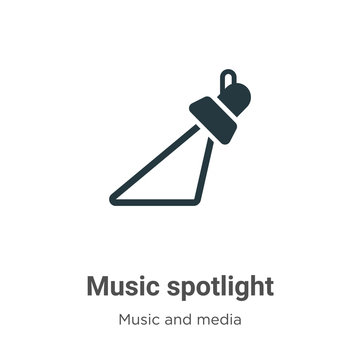 Music spotlight vector icon on white background. Flat vector music spotlight icon symbol sign from modern music collection for mobile concept and web apps design.