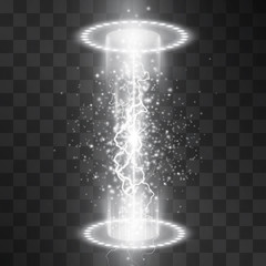 Sci fi white light space travel portal vector isolated on transparent background. Swirling luminous podium for presentation, posters, ads, banners. Magical holographic tunnel, club projector spotlight
