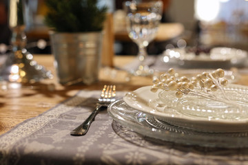 Modern new Year table decoration, details