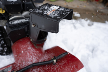 snowblower is ready to blow fresh snow from the chute