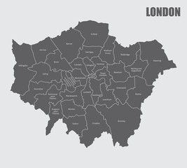A London map divided into regions with labels