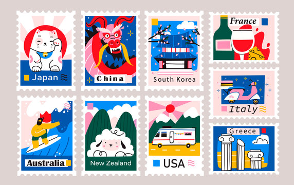 Japan, China, Korea, USA, Italy, France, Greece, Netherlands. Postage mail stamps. Various famous countries of the world with popular stuff. Hand drawn colored vector set. Modern trendy illustration