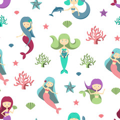 Cartoon Color Characters Mermaids Girls Seamless Pattern Background. Vector