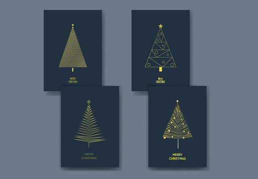Art Deco Christmas Trees Card Layouts