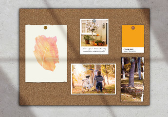 Moodboard Scene Creator Mockup with Papers and Photos on Cork