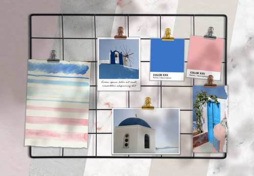 Moodboard Scene Creator Mockup with Papers and Photos on Metal Grid