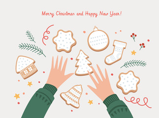 Cute Christmas picture with children's hands and gingerbread cookies. Happy winter holidays. Xmas layout creative card. Template New Year's poster or banner. Vector seasonal illustration.