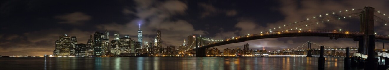 A nighttime panoramic one of New York City's Financial District.