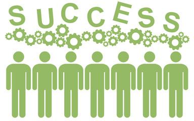 Teamwork brainstorm - ideas of people (cog,cogwheel) - Teamwork success - interlocking cogs - success - succeeded people -Teamwork succeeded  -sign, icon, shape