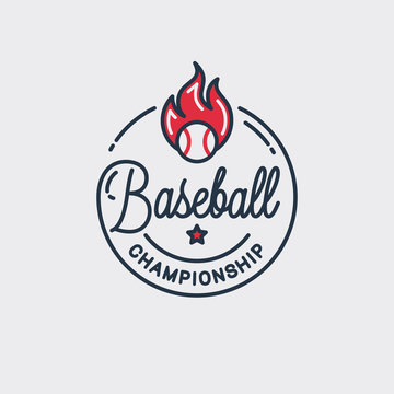 Baseball championship logo. Round linear of ball