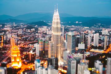 Cityscape of Kuala Lumpur at dusk, Malaysia