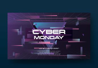 Retro Cyber Monday Sale Banner Layout