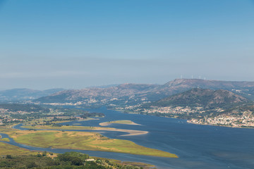 Rio Miño and near the mouth, general view from Mount Santa Tecla, we can see part of the Portuguese shore