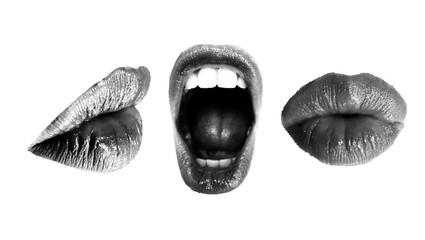 Set of Halftone Female mouths in different poses