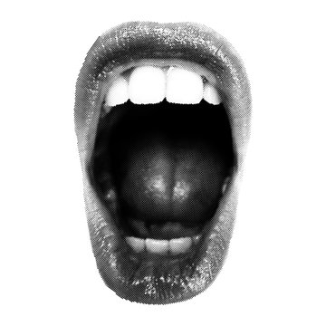 Wide open Halftone Female Mouth. Front view