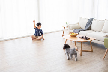 Little Chinese boy playing with dog in living room