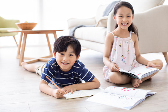 Happy Chinese sibling studying in living room