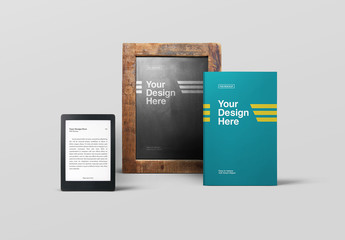 Book and Ebook with Chalkboard Mockup