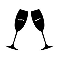 Two clinking wine glasses glyph icon. Champagne flutes. Glassfuls of alcohol beverage. Wine service. Celebration. Wedding. Cheers. Silhouette symbol. Negative space. Vector isolated illustration