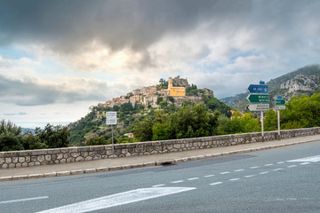 View from the road that connects the villages of the French Riviera of the mountain top village of Eze in Southern France