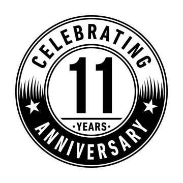 11 years anniversary celebration logo template. Vector and illustration.