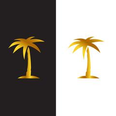 Palm tree golden vector logo design template