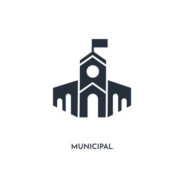 municipal icon. simple element illustration. isolated trendy filled municipal icon on white background. can be used for web, mobile, ui.