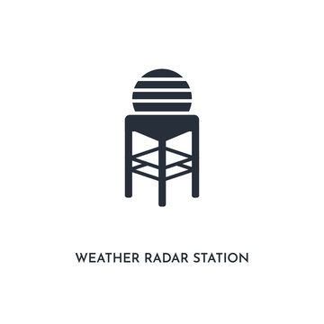 weather radar station icon. simple element illustration. isolated trendy filled weather radar station icon on white background. can be used for web, mobile, ui.