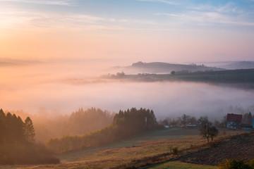 Farmland and Countryside in Poland at Foggy Sunrise in Autumn