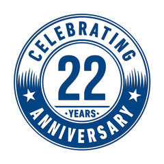 22 years anniversary celebration logo template. Vector and illustration.