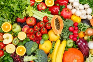 Fruits and vegetables background food collection pattern apples oranges fruit vegetable