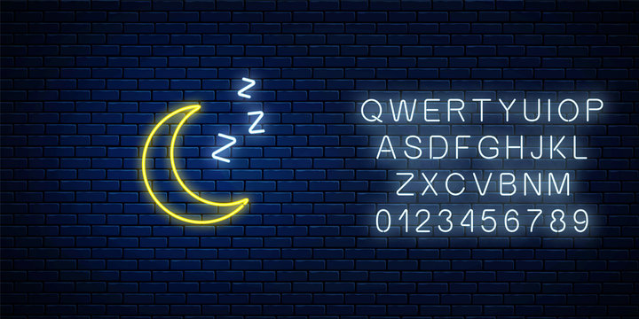 Glowing neon sleepy moon icon with zzz symbol with alphabet. Sleeping crescent in neon style to weather forecast