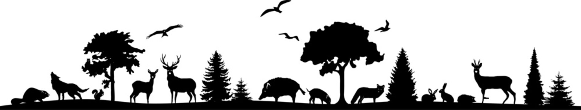 Wild Animals Forest Landscape Vector Silhouette