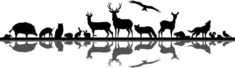 Wild Animals Forest Landscape Vector Silhouette Wall mural