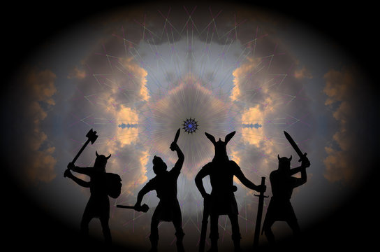 Four silhouettes of Old Norse Gods-warriors in the guise of armed Vikings, standing in front of the huge Eye of the Universe, fantasy theme