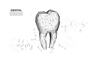 Tooth. Medical healthy human tooth 3d. Medicine model low poly. Web healthcare dentist stomatologist modern technology. Dentist white toothpaste, teeth freshness symbol.