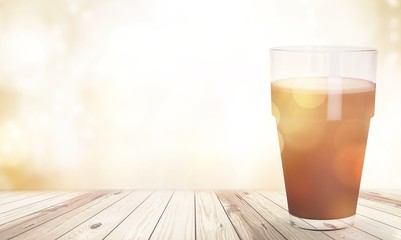 Glass jug of fresh milk  on background