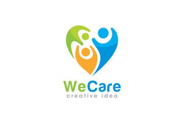 Creative People Care Concept Logo Design Template