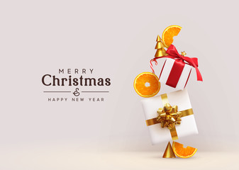 Fotomurales - Merry Christmas and Happy New Year. Background with realistic festive gifts box, orange slices conical metal Christmas trees. Xmas present. Abstract balanced composition design concept