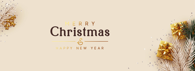 Merry Christmas, Happy New Year. Greeting card, Xmas banner, horizontal header for website, web poster. Realistic gift boxes, pine and fir branches. gold snowflake, silver confetti, beige background Wall mural
