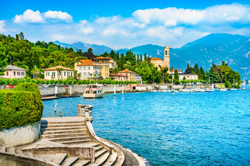 Tremezzo Tremezzina view, Como Lake district landscape. Italy, Europe.