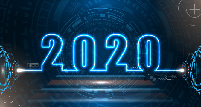 Happy New 2020 Year. Futuristic Neon Background. Future Technology Template